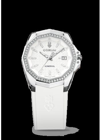 reloj corum admiral ac-one 38 caucho blanco mujer