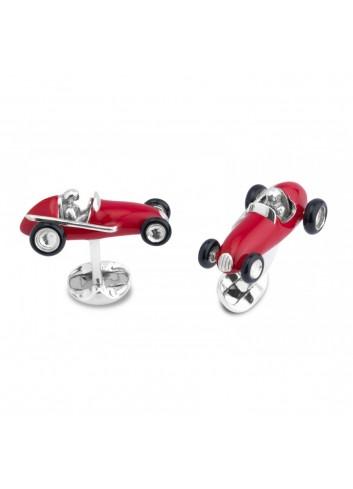 gemelos coches de plata y esmalte