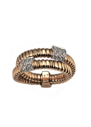 anillo tubogas de oro rosa y diamantes