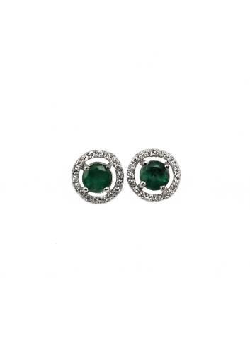 pendientes pequeños de oro blanco con diamantes y esmeralda