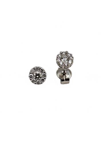 pendientes pequeños de oro blanco y diamantes