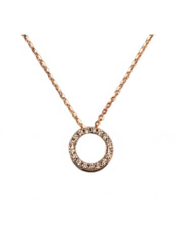 colgante circulo de oro rosa y diamantes