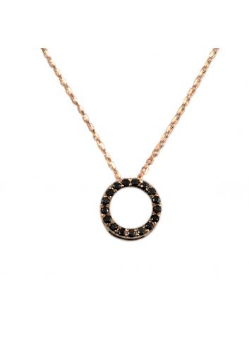colgante circulo de oro rosa y diamantes negros