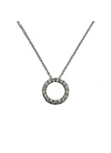 colgante circulo de oro blanco y diamantes