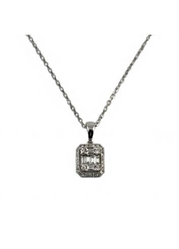 colgante clasico de oro blanco y diamantes