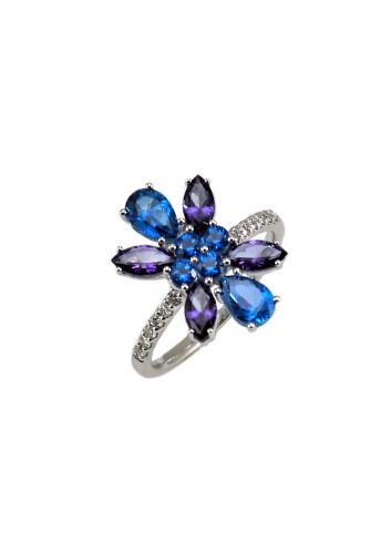 anillo de oro blanco con diamantes y topacios