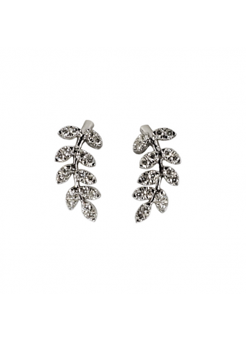pendientes hojas de oro blanco y diamantes