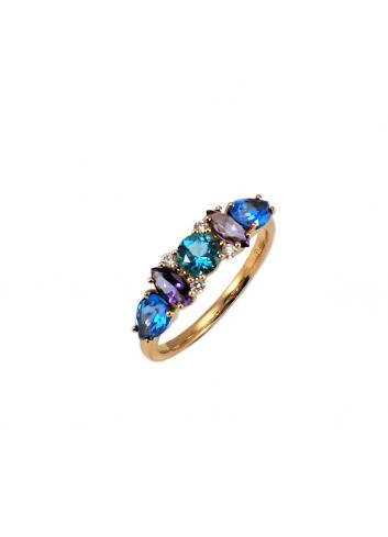 anillo de oro rosa con diamantes y topacios