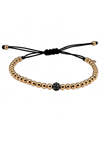 pulsera hilo nylon con bolas de oro rosa y diamantes negros