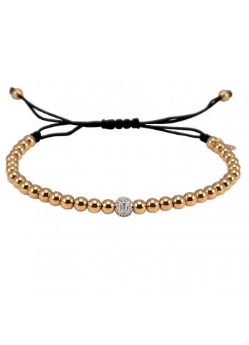 pulsera hilo nylon con bolas de oro rosa y diamantes