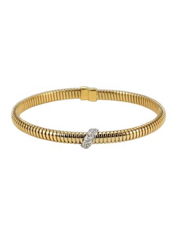 pulsera tubogas de oro amarillo y diamantes