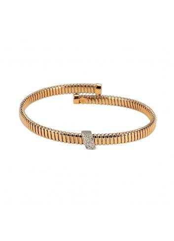 pulsera tubogas de oro rosa y diamantes