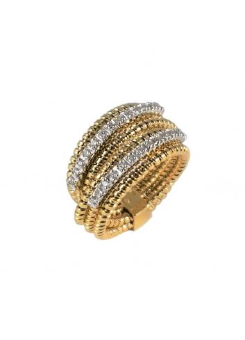 anillo tubogas de oro amarillo y diamantes