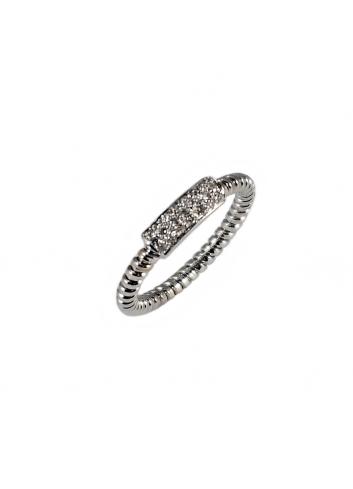 anillo tubogas de oro blanco y diamantes