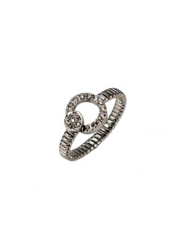 anillo tubogas rígido de oro blanco y diamantes