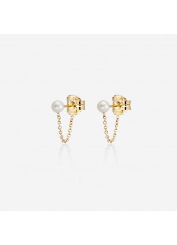 pendientes drop chain gold & roses, gold&roses